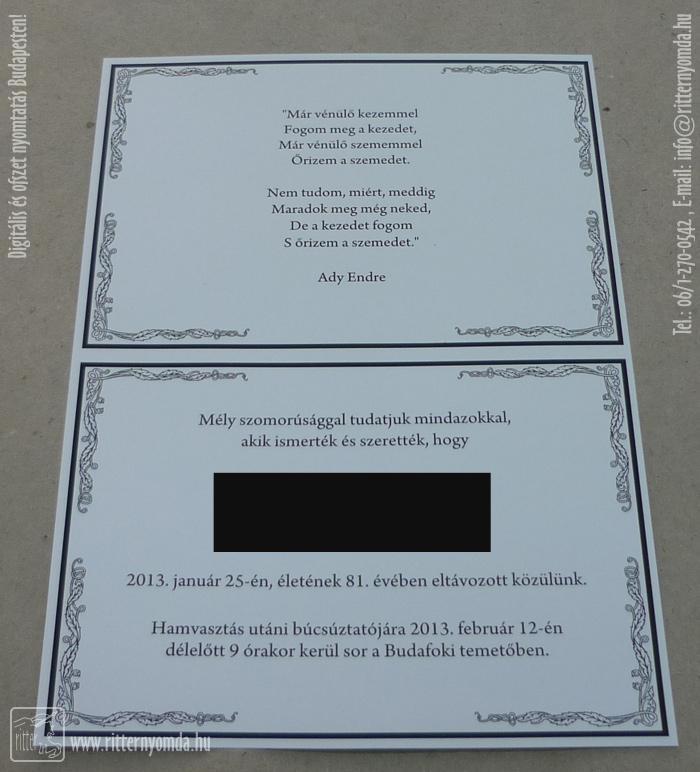a37514aa20 gyászjelentés, hamvasztás, a6, nyomtatás, készítés - Ritter Nyomda